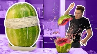 WATERMELON VS RUBBER BANDS! (GONE WRONG)