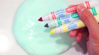 Satisfying Slime Mixing and Coloring with Crayola Markers!