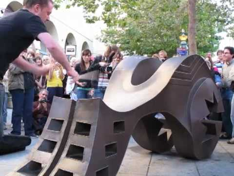 Colin Currie plays sculpture on Pacific Ave. in Santa Cruz