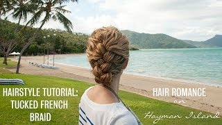 French braid tucked updo hairstyle tutorial in curly hair