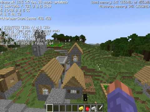 Minecraft seed 1.7.10 Large npc village, grassland ravine