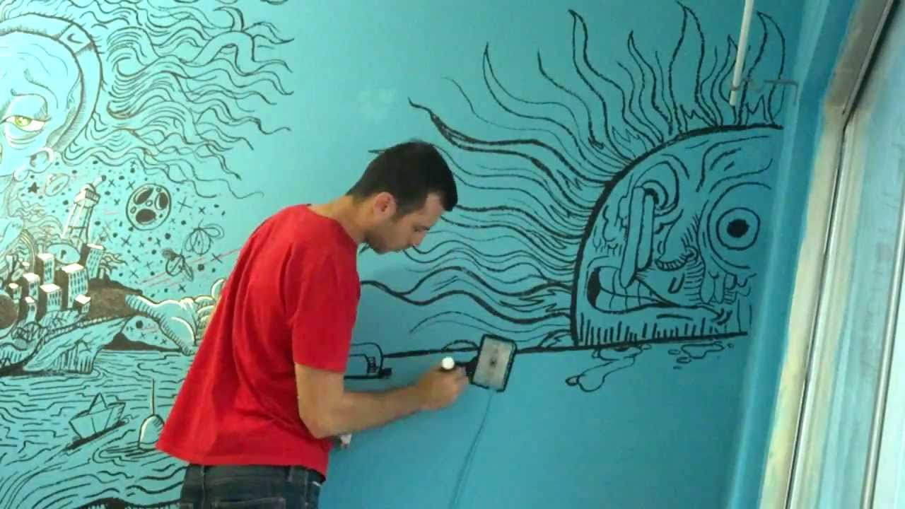 Wall mural using decocolor acrylic paint markers by for Acrylic mural painting techniques