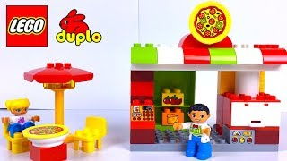 LEGO DUPLO PIZZERIA WITH PIZZA RESTAURANT OVENS DELIVERY MOTORCYCLE & FIGURINES - UNBOXING