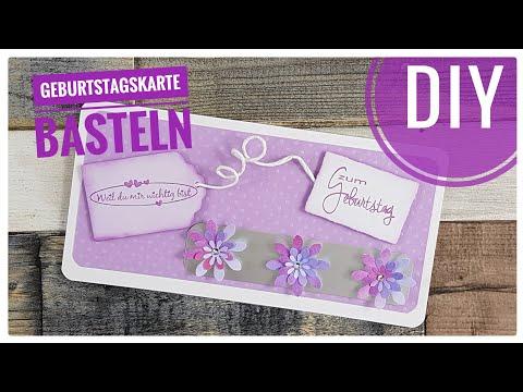Einfache Karte Zum Geburtstag Basteln Kartenbasteln Mit Papier Diy