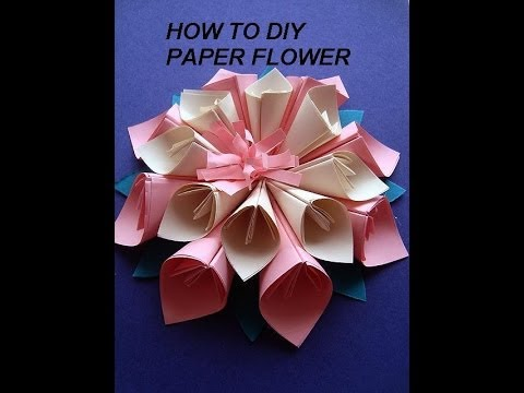 Paper Flower Kanzashi How To Diy Paper Crafts Wall Decor Paper Art Wedding Decor Youtube