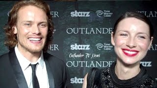 Outlander TV News' Tartan Carpet Interview with Caitriona Balfe and Sam Heughan