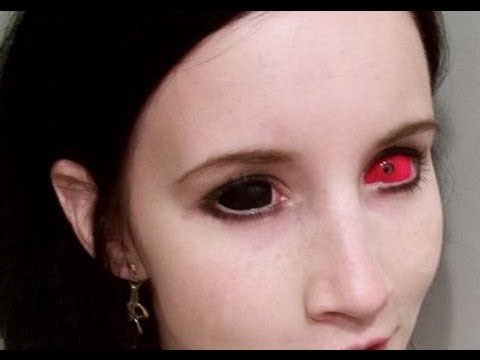 Inserting & Removing Black & Red Sclera Contact Lenses