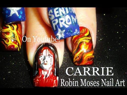 2 Nail Art Tutorials | DIY Halloween Nails | Carrie - Horror Film Nail Design