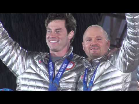 Steven Holcomb & Steve Langton - Rare footage of Medal Ceremony Sochi Olympics