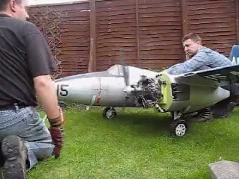 1/5 Scale Radial Powered R/C Grumman Tigercat - First Engine Run