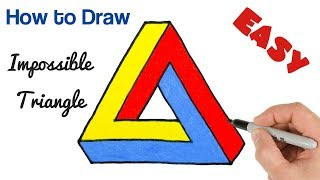 How to Draw Impossible Triangle Penrose | Optical Illusion drawing tutorial