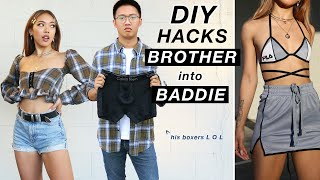 STEALING and UPCYCLING MY BROTHER'S CLOTHES DIY HACKS!   Nava Rose