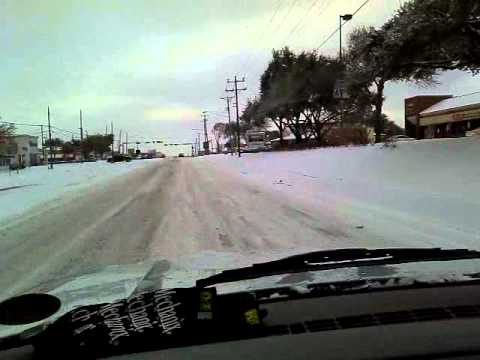 Driving in Arlington TX Snow! 2-4-2011
