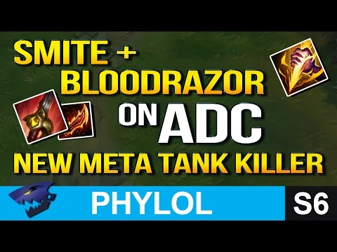 SMITE + BLOODRAZOR AD CARRY - NEW META TANK KILLER (League of Legends)