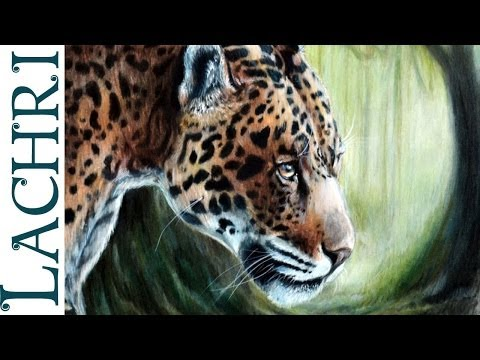 How to blend colored pencils with paint thinner - Leopard / Jaguar full tutorial painting by Lachri