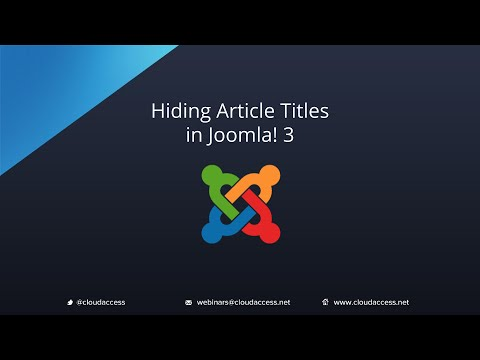 Hiding Article Titles (Joomla 3.0)