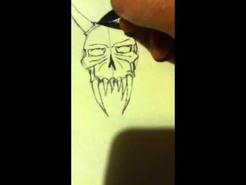 how to draw a demon skull