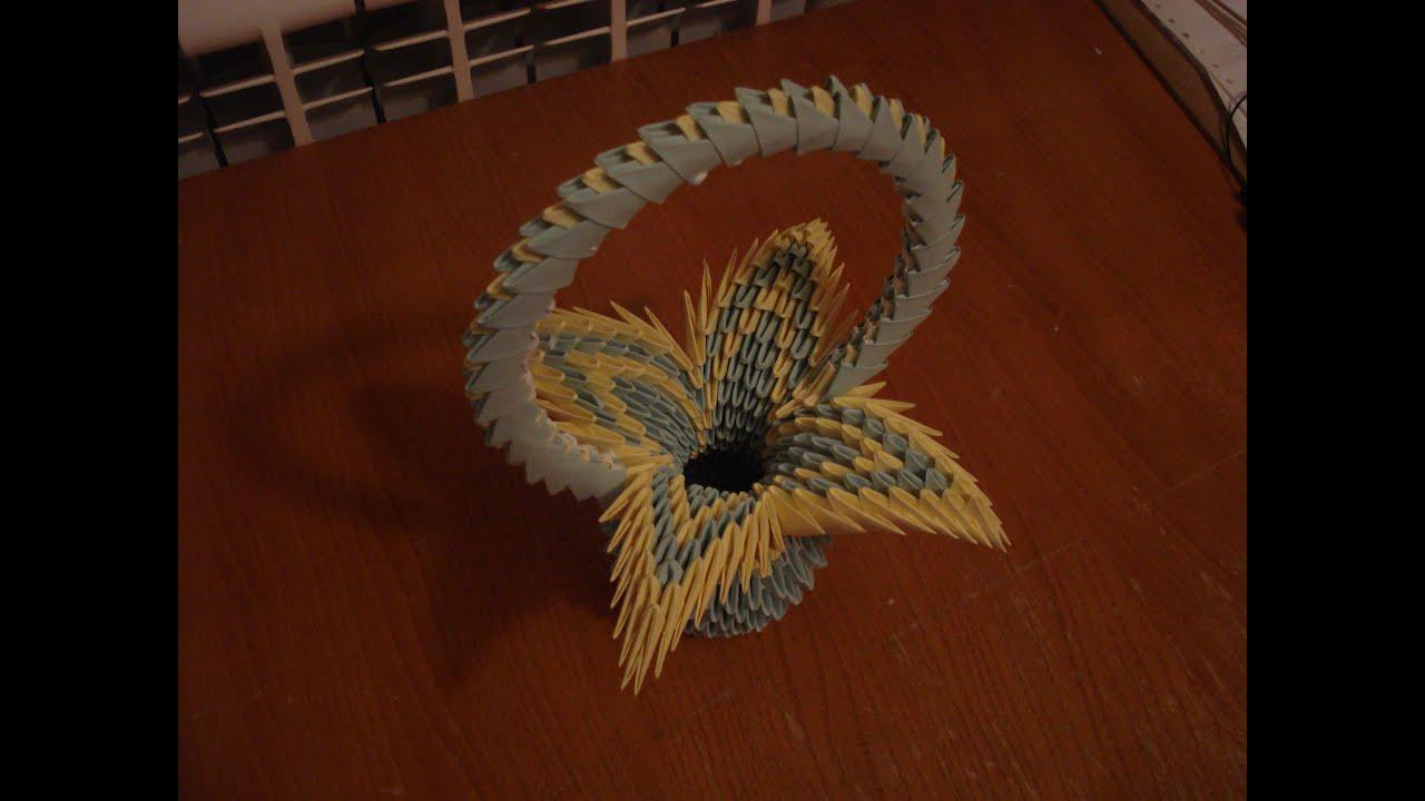 How To Make Flower Basket From Paper : D origami flower basket tutorial