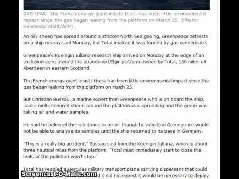 North Sea Gas Leak: oily substance spreading around the Rig 03/04/12