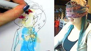 BLINDFOLD DRAWING CHALLENGE - Elsa