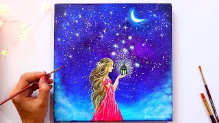 A Girl in a Moonlight Scene Painting / Step by Step Acrylic Painting Tutorial