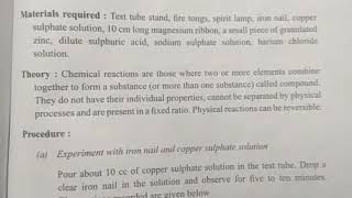 Science class 9 , Experiment Question,   Chemical reaction of iron nail and copper, burning magnesiu