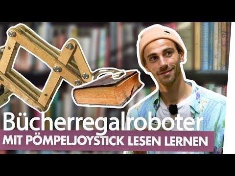 Bücherregal-Roboter mit Abflusspümpel-Joystick! UNGLAUBLICH, ES KLAPPT!  Kliemannsland