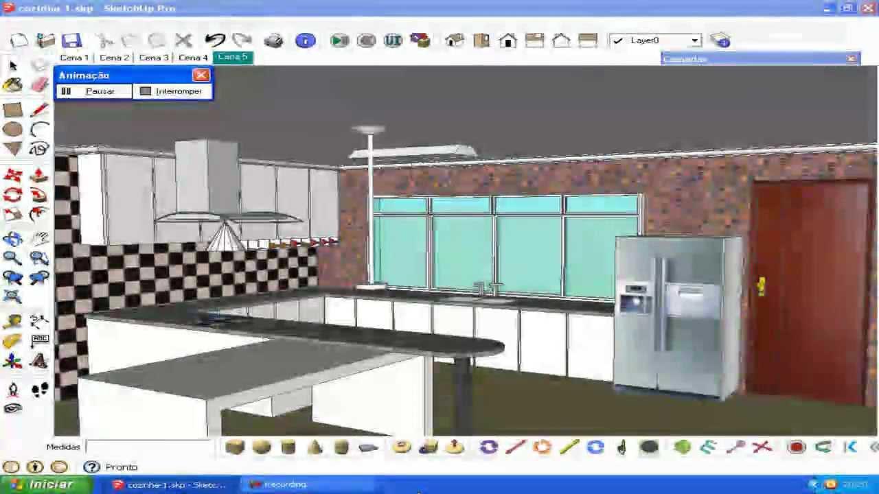 projeto de uma cozinha 2 sketchup e kerkythea youtube. Black Bedroom Furniture Sets. Home Design Ideas