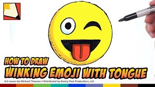 How to Draw Emojis - Winking with Tongue Sticking Out - Step by Step for Beginners
