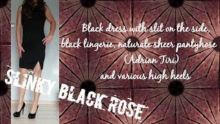 Black dress with slit on the side, naturale sheer pantyhose, black lingerie, (crossdresser)