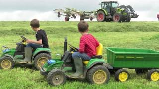 KIDS on tractors, real tractors and silage, kids watching silage, farming for kids 'Mr Tractor'