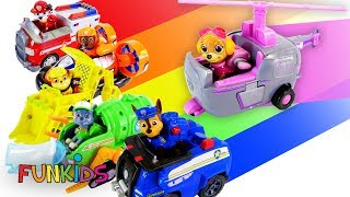 Learn Colors with Paw Patrol Vehicles & Tractor