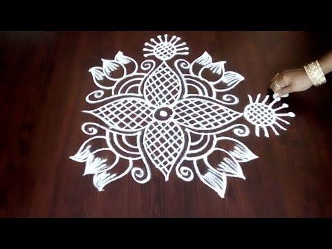 Latest Designer Rangoli ||  Freehand Muggulu  || Easy Freehand Kolam Without Dots || Fashion World