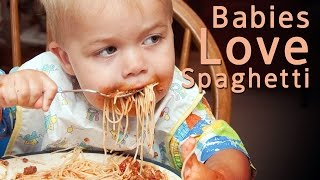 Babies Eating Spaghetti