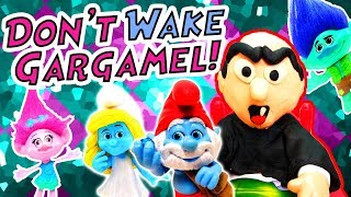 Trolls & Smurfs Don't Wake Daddy Gargamel Game! W/ Poppy, Branch & Smurfette