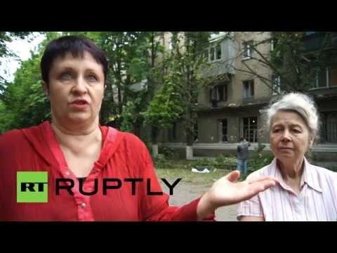 Ukraine: Residential buildings shelled in Slavyansk