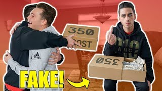SURPRISING FRIEND WITH FAKE YEEZYS *PRANK*