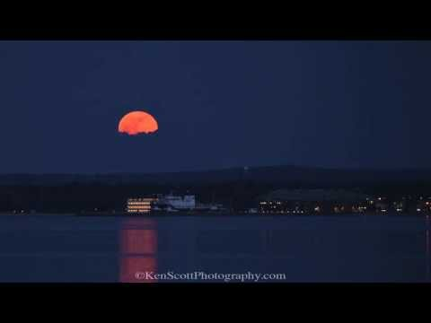Pink Moon Rising over Traverse City, Michigan ... 4-25-13