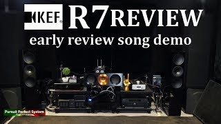 KEF R7 Floor standing HiFi Speakers REVIEW First Song Demonstration Leema Chord Qutest