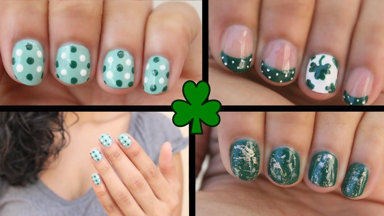 3 EASY St Patricks Day Nail Art YouTube