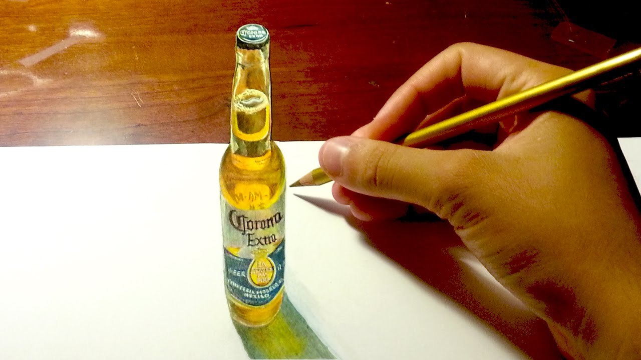 AMAZING Anamorphic Drawing 3D Illusion #3: Beer Bottle ...