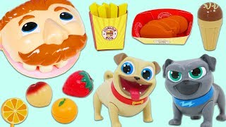 Disney Jr Puppy Dog Pals Feed Mr. Play Doh Head Toy Velcro Cutting Fruits, Desserts, & More!