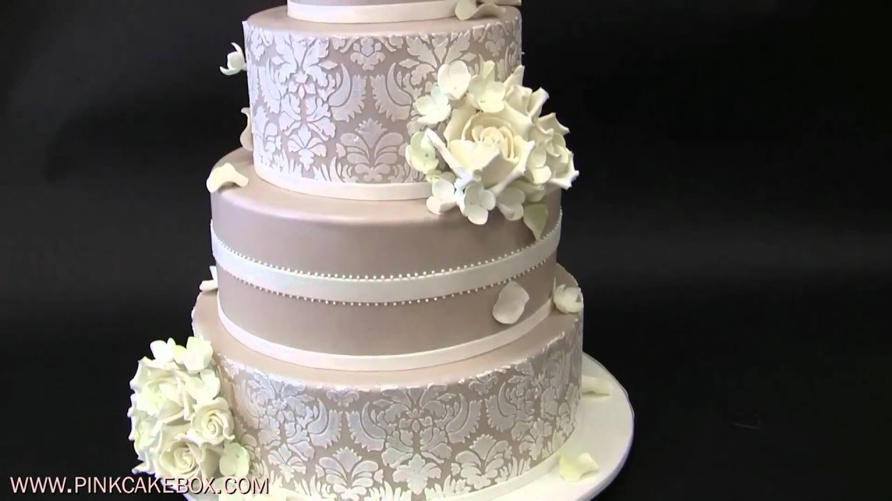 Hydrangea and White Rose Wedding Cake