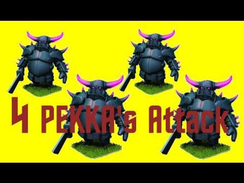FIRST PEKKA ATTACK!! 4 PEKKAS + Barbarian King