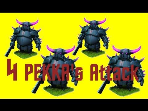 FIRST PEKKA ATTACK!! 4 PEKKAS + Barbarian King