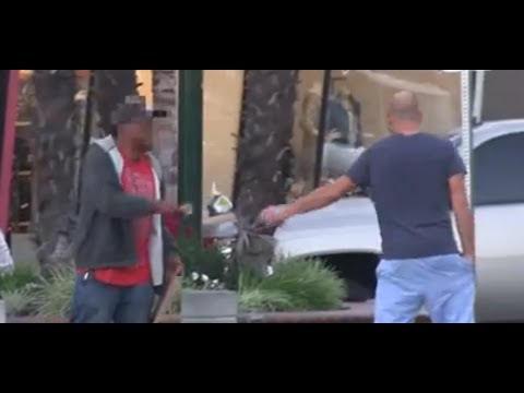 No Shame In His Game: Fake Homeless Man Followed To His New Car & Nice House Then Gets Angry When Confronted!