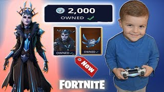 Spending 2,000 V-Bucks *5 YEAR OLD KID* Buys NEW 'ICE QUEEN' Legendary Fortnite Outfit
