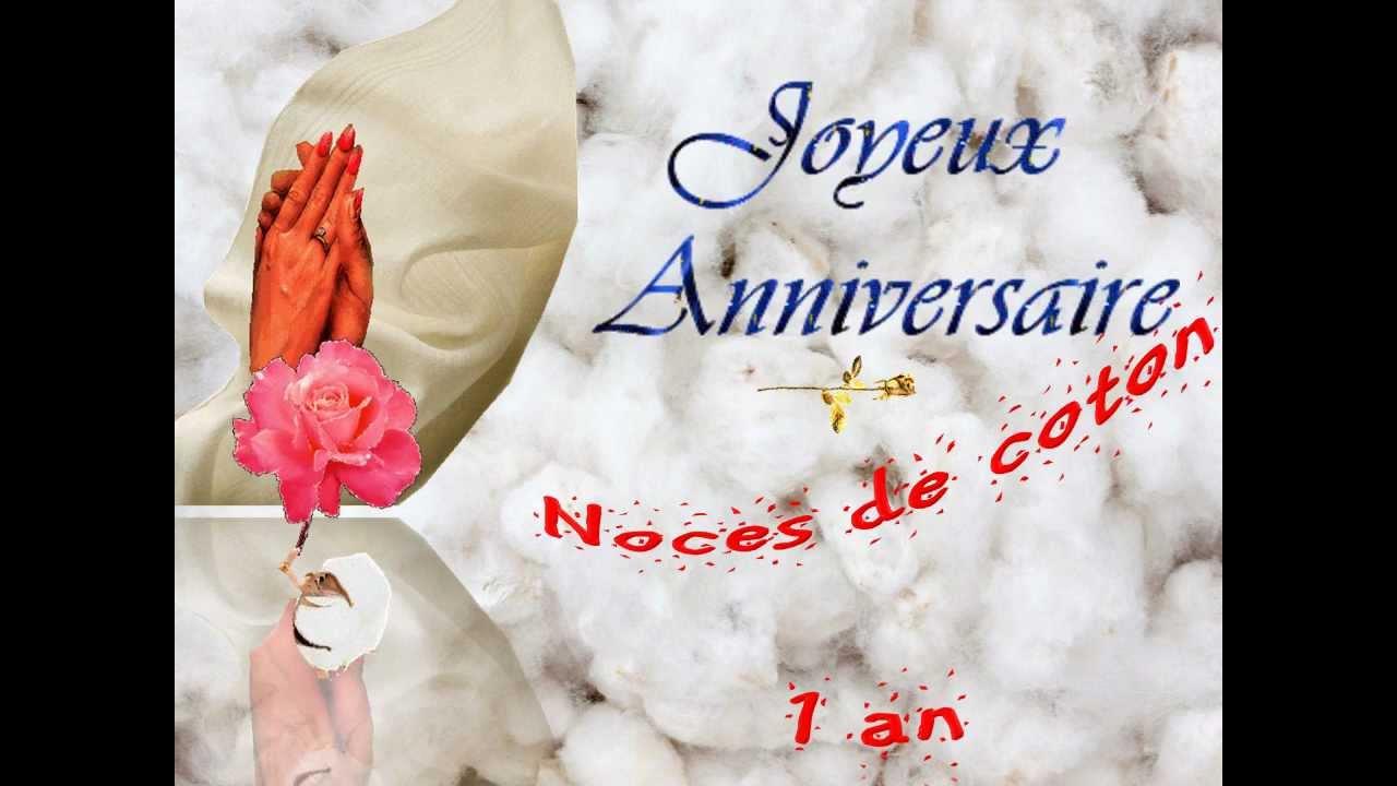 Carte anniversaire mariage noce coton 1 an domaine de rabreux 279 youtube - Noce de 8 ans ...