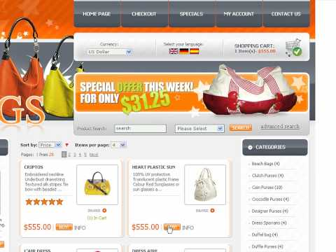 0 Bags Store osCommerce template