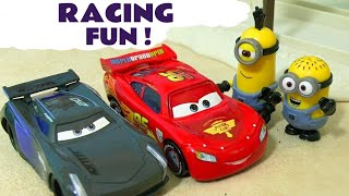 Minions Cars 3 Race Off McQueen vs Storm - Funny toy story with Hulk Spiderman Hot Wheels TT4U